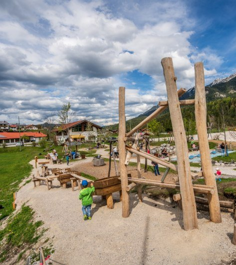 The adventure playground near the Isar in Krün , © Alpenwelt Karwendel | Hannes Holzer